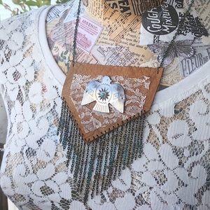 Upcycled Leather & Lace Boho Thunderbird Necklace